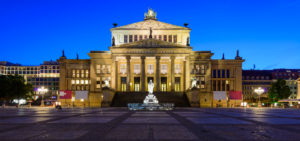panorama with konzerthaus (concert house) in berlin, germany, at night