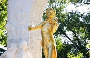 The statue of Johann Strauss in Stadtpark, Vienna, Austria